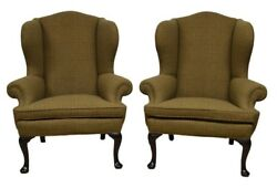 RALPH LAUREN  Pair of Upholstered Wing back Chairs