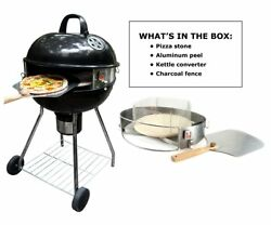 Deluxe Pizza Grill Kettle Kit Wood Fired Pizza Ovens Up To 900F Smoky Flavor