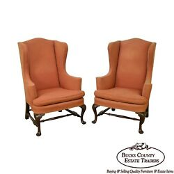 Custom Pair of Mahogany Frame Colonial Williamsburg Style Wing Chairs