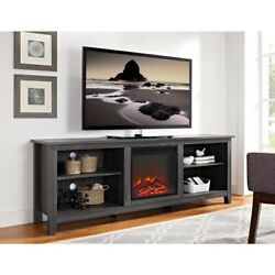 70 inch Wood Media Living Room TV Stand Console with Fireplace Charcoal Modern