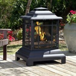 Outdoor Fireplace Patio Wood Burning Freestanding Modern Pagoda Fire Pit Accent
