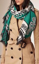 NWT Burberry Prorsum $995 Patchwork Geo Floral Pattern Cashmere Scarf Dusty Teal