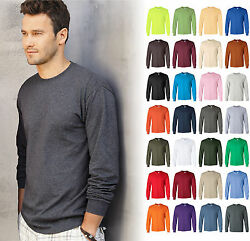 Gildan Ultra Cotton Mens Crewneck Long Sleeve T Shirt S 5XL 2400