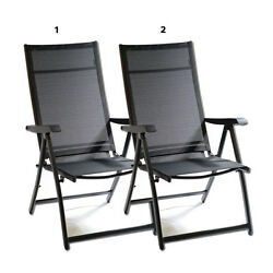 2X Heavy Duty Adjustable Reclining Folding Chair Outdoor Indoor Garden Pool