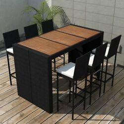 Patio Furniture Bar Dining Set Height 7 Piece Table And Chairs Outdoor Rattan
