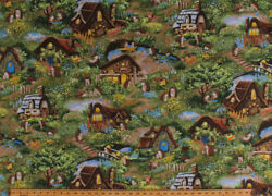 Hedgehog Village Cute Hedgehogs Cottages Animals Cotton Fabric Print BTY D583.47