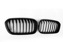 Single Slat Front Mesh Grille 2Pcs Matte Black ABS For BMW 1 Series F20 15-16