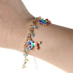 Cute Colored Unicorn Horse Charm Handmade Chain Bracelet Women Girl Gift