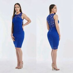 Women#x27;s Blue Lace Cocktail Evening Bodycon Dress Size Medium $20.00