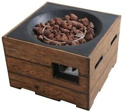 Outdoor Heating 23.6 in Brown Fire Pit Faux Wood Finish Adjustable Flame Durable