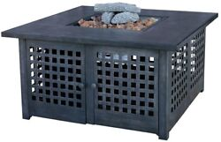 Propane Gas 20 in Fire Pit Dark Slate Finish Ceramic Tile Electronic Start Cozy