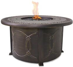 Outdoor Heating Cast Aluminum Bronze Propane Fire Pit Table Includes Cover Warm