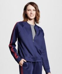 New Mossimo Womens Track Jacket Size Small Navy Zip Up Burgundy Sleeve Stripe $12.99