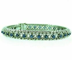 Vintage Bracelet 60's White Gold Solid 18K with Sapphires Natural Clear