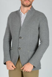 SILVIA BINI New Man Dark Blue Knit Sweater Cardigan cashmere wool NWT Original