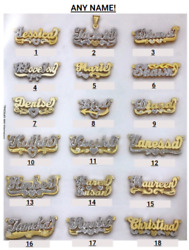 Personalized Silver and Gold Script Double Any Name Plate Necklace w Free Chain