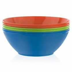 Fresco 10-inch Plastic Mixing and Serving Bowls  Set of 6 in 3 Assorted Colors