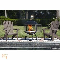 Small Patio Heater Outdoor Firepit Portable Fireplace Wood Burning Round  Metal