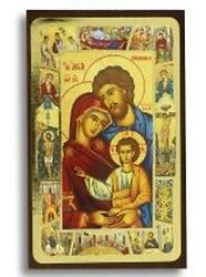 Holy Family Icon Gold Leaf Finish Picture on Wood  4 34