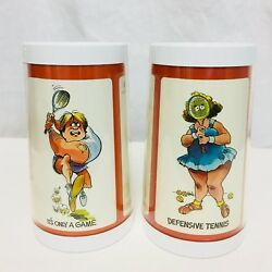 Vintage Tennis Novelty Mugs Thermo Serv Insulated Set Of 2 His and Hers C $28.00