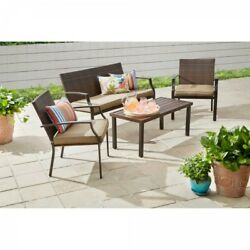 4 Piece Wicker Conversation Set Outdoor Garden Brown Patio Furniture With Cover