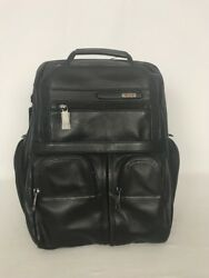 Tumi Alpha Compact Laptop Brief Backpack Black Leather 963173D4  $645  NWT