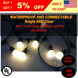 3 Pcs 48 ft Festoon Outdoor Globe Patio Pergola Deck Party String Lights LED Kit