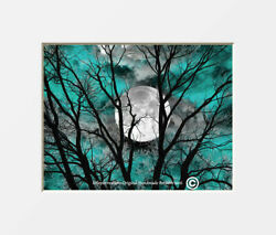 Teal Gray Contemporary Modern Tree Moon Bedroom Home Decor Matted Picture