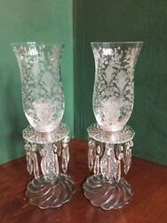 Duncan amp; Miller Pair Crystal Candlesticks Etched Globes Prisms 15quot; Tall $400.00