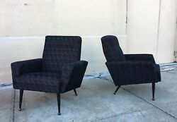 Pair of French 1950s Upholstered Armchairs by Airborne (Attr Guariche)