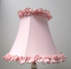 New PINK RUFFLE Table Lamp Shade 6quot;x 12quot;x 9.5quot;h softback full frame lined $35.00