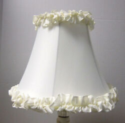 New OFF WHITE RUFFLE Table Lamp Shade 6quot;x 12quot;x 9.5quot;h softback full frame lined $30.80