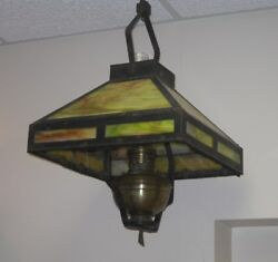 Original Antique Slag Stained Glass Mission Style Hanging Kerosene Lamp $300.00