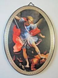 St Michael Icon Picture on Wood Oval 5 34