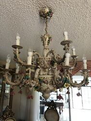 Capodimonte Made In Italy Chandelier 12 Lights - White & Gold Finish