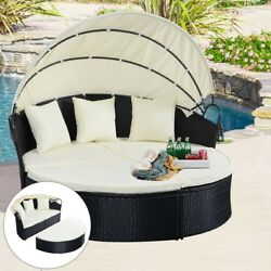 Round Rattan Outdoor Daybed Cushion Furniture with Retractable Canopy for Patio
