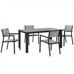 Modway EEI-1747-BRN-GRY-SET Maine 5 Piece Outdoor Patio Dining Set In Brown Gray