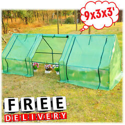 Portable Greenhouse Kit 9x3x3 Walk In Plant Outdoor Garden PVC Cover Steel Frame