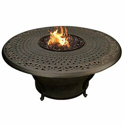 Oakland Living Charleston Round Gas Firepit Table Antique Bronze