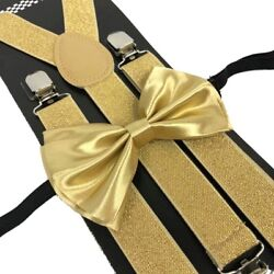 Champagne Gold Suspender and Bow Tie Set Wedding Formal for Men Women USA $9.99