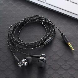 Black In Ear Earbuds Stereo Tangle Free Braided Cable Cord Quality Sound Bass $6.95