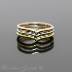 TRI COLOUR ROSE YELLOW WHITE GOLD IP SMALL MIDI TOE RING 3PC SET AU $13.99