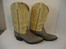 DAN POST MENS COWBOY EXOTIC LEATHER GRAY BOOTS SIZE 8 EW TWO TONE !
