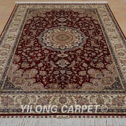 YILONG 5'x7.5' Persian Handmade Silk Area Rugs High End Red Indoor Carpet 0804