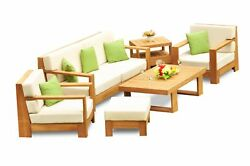 Canberra Grade-A Teak Wood 6Pc Sofa Lounge Chair Coffee Table Furniture Set