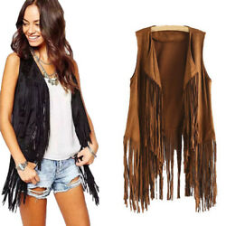 Women Spring Faux Suede Ethnic Sleeveless Tassels Fringed Vest Cardigan Coat #S