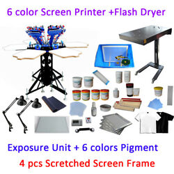 6 Color 6 Station Full Set Material Kit Screen Printing Press & Flash Dryer Kit