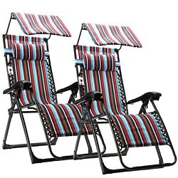New Zero Gravity Chairs Case Of 2 Lounge Patio Folding Chairs With Canopy Yard