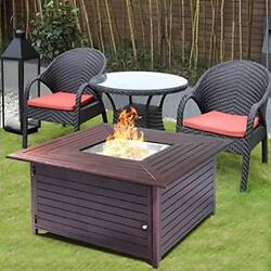 Fire Pit Table Aluminum Frame Outdoor Propane Gas Stove Furniture W Cover