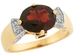 10k or 14k Real Two Tone Gold Oval Garnet Diamond Accent Cute Bow Tie Ring